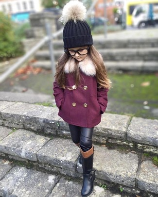 How to Wear a Black Beanie For Girls: A purple coat and a black beanie are a go-to outfit for lazy days when you and your tot don't want to do anything special. Black boots are a savvy choice to complement this getup.