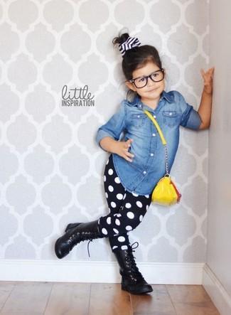 How to wear: black boots, black polka dot leggings, blue denim long sleeve shirt