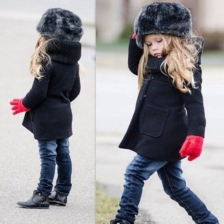 How to Wear a Black Coat For Girls: Help your little girl look fashionable by suggesting that she go for a black coat and navy jeans. Black boots are a nice choice to round off this look.