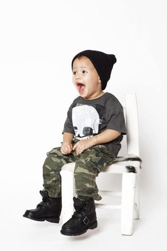 How to wear: black beanie, black boots, olive camouflage trousers, charcoal t-shirt