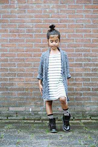 How to wear: white and black horizontal striped socks, black leather boots, white horizontal striped dress, grey leopard cardigan