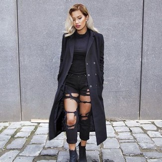 How to wear: black leather ankle boots, black ripped boyfriend jeans, black turtleneck, black coat