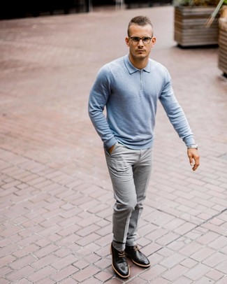 How to wear: silver watch, black leather brogues, grey dress pants, light blue polo neck sweater