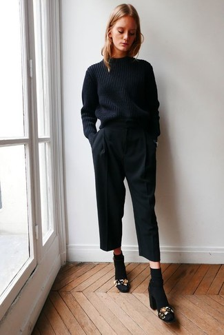How to wear: black cable sweater, black culottes, black embellished suede heeled sandals, black socks