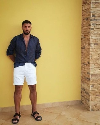 How to Wear a Navy Long Sleeve Shirt For Men: This off-duty combo of a navy long sleeve shirt and white shorts is ideal when you need to look sharp but have zero time to spare. And if you want to effortlessly dial down this outfit with one piece, why not complete this outfit with black canvas sandals?