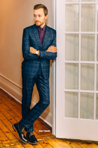 How to wear: black leather watch, black leather casual boots, burgundy dress shirt, navy plaid suit