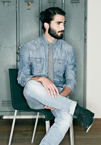 How to wear: grey wool tie, black suede casual boots, light blue jeans, blue denim shirt