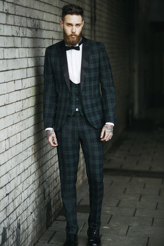 How to wear: black bow-tie, black leather casual boots, white dress shirt, dark green plaid three piece suit