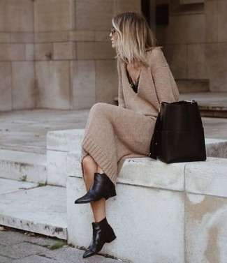 How to wear: black leather bucket bag, black leather chelsea boots, black lace tank, tan sweater dress