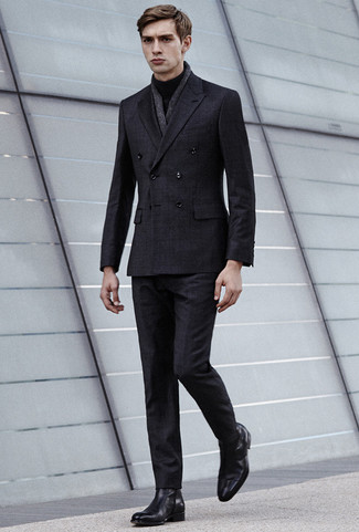 How to wear: charcoal linen scarf, black leather chelsea boots, black turtleneck, charcoal check suit