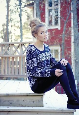 How to wear: black socks, black suede chelsea boots, navy leggings, navy fair isle crew-neck sweater