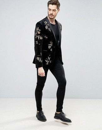 How to wear: black leather derby shoes, black chinos, black crew-neck t-shirt, black embroidered velvet blazer