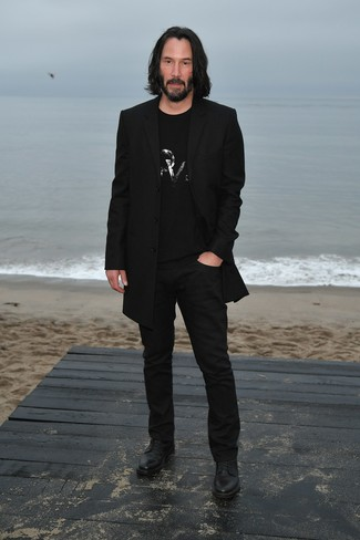 How to wear: black leather derby shoes, black chinos, black embellished crew-neck t-shirt, black overcoat