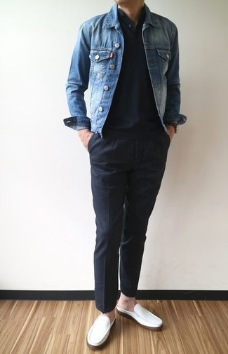 How to wear: white leather loafers, black chinos, black henley shirt, blue denim jacket