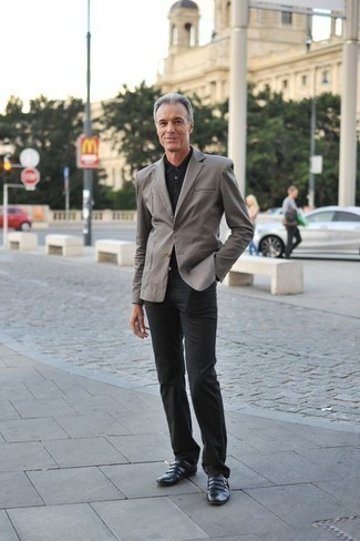 How to Wear Black Leather Double Monks: Putting together a grey blazer and black chinos is a guaranteed way to infuse your styling collection with some masculine elegance. For an on-trend hi/low mix, complement this look with a pair of black leather double monks.
