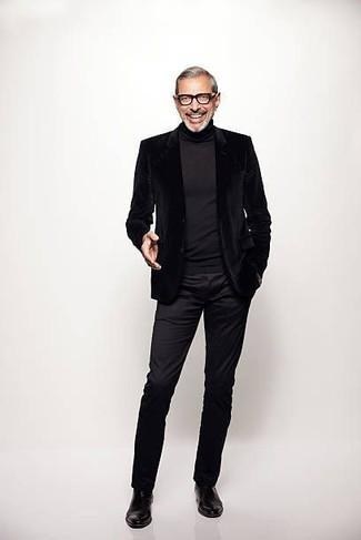 How to wear: black leather chelsea boots, black chinos, black turtleneck, black velvet blazer
