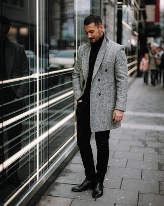 How to wear: black leather chelsea boots, black chinos, black turtleneck, grey herringbone overcoat