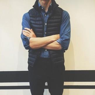 How to wear: black chinos, blue denim shirt, black gilet
