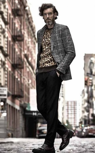 How to Wear a Grey Check Wool Blazer For Men: Rock a grey check wool blazer with black chinos if you're going for a crisp, on-trend outfit. Finish this look with a pair of black leather chelsea boots to change things up a bit.