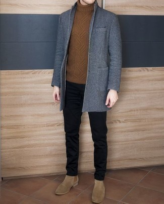 How to Wear Tan Suede Chelsea Boots For Men: For an ensemble that's worthy of a modern fashion-forward gent and effortlessly classic, consider wearing a blue overcoat and black chinos. Rounding off with tan suede chelsea boots is an effective way to give an added dose of refinement to this getup.
