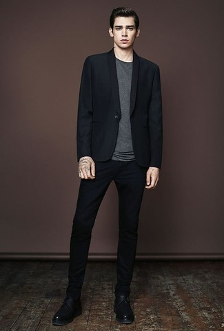 How to Wear a Black Blazer For Men: We're loving how this smart casual combination of a black blazer and black chinos instantly makes men look on-trend. Black leather monks are a guaranteed way to inject an extra touch of style into your ensemble.