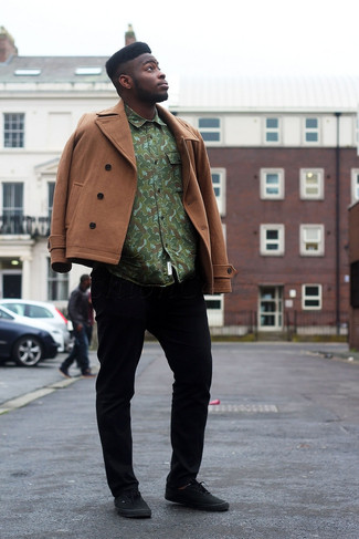 How to wear: black low top sneakers, black chinos, green camouflage long sleeve shirt, brown pea coat
