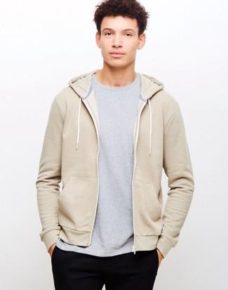 How to wear: black chinos, grey crew-neck t-shirt, beige hoodie