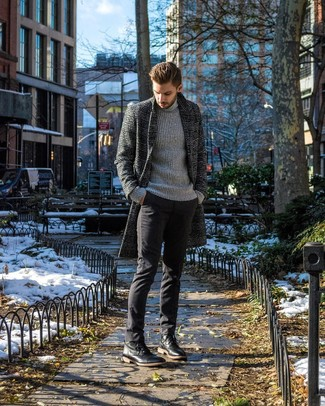 How to wear: black leather casual boots, black chinos, grey knit turtleneck, charcoal plaid overcoat