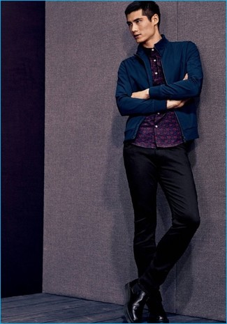 How to wear: black leather chelsea boots, black chinos, navy print long sleeve shirt, navy bomber jacket