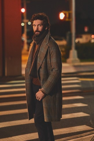 How to wear: dark brown knit scarf, black chinos, tobacco cable sweater, brown plaid overcoat