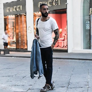 How to wear: black leather double monks, black chinos, white crew-neck t-shirt, light blue denim jacket