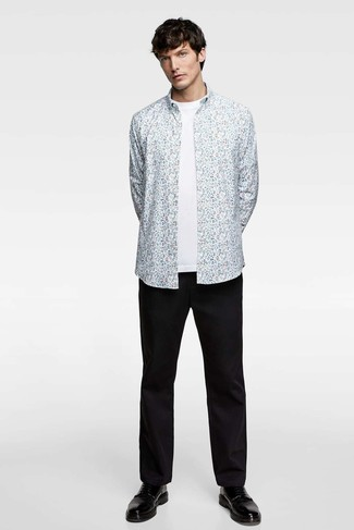 How to wear: black leather derby shoes, black chinos, white crew-neck t-shirt, light blue floral long sleeve shirt