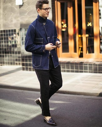 How to wear: dark brown leather loafers, black linen chinos, white crew-neck t-shirt, navy denim field jacket