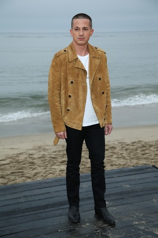 How to wear: black leather chelsea boots, black chinos, white crew-neck t-shirt, tan suede pea coat