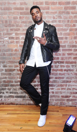 How to wear: white leather low top sneakers, black chinos, white dress shirt, black leather biker jacket