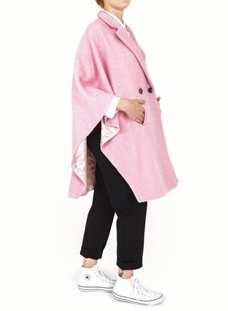How to Wear a Pink Cape Coat: A pink cape coat and black chinos are the kind of a never-failing casual getup that you so terribly need when you have zero time to dress up. On the fence about how to finish off? Grab a pair of white canvas high top sneakers to spice things up.