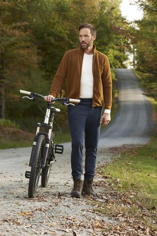 How to wear: dark brown high top sneakers, black chinos, white long sleeve t-shirt, tobacco fleece zip sweater