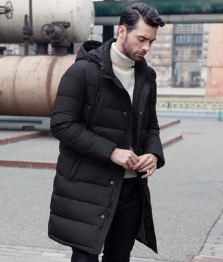 How to wear: black chinos, white turtleneck, black puffer coat