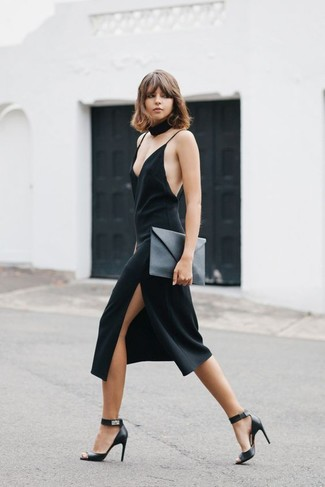 How to Wear a Black Cami Dress: If the situation permits casual styling, you can go for a black cami dress. A pair of black leather heeled sandals integrates smoothly within plenty of combos.
