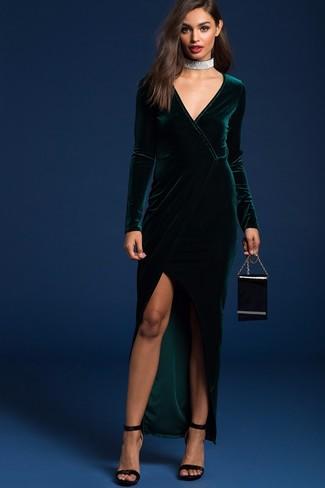 How to wear: silver choker, black leather clutch, black velvet heeled sandals, dark green slit velvet maxi dress