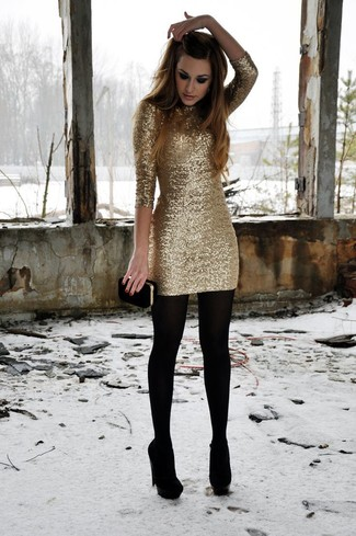 Sequin Bandeau Midi Dress With Fringe Hem In Gold