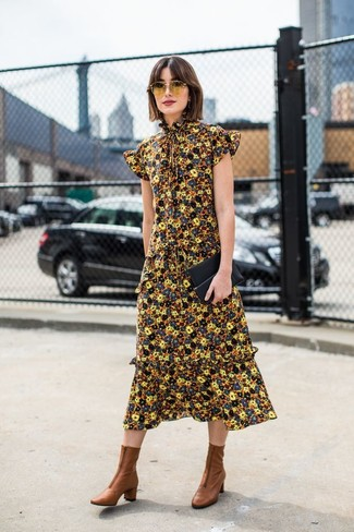 How to Wear a Black Leather Clutch: A yellow floral midi dress and a black leather clutch are a cool outfit to have in your casual sartorial collection. Hesitant about how to round off? Add a pair of brown leather ankle boots to the equation to up the fashion factor.