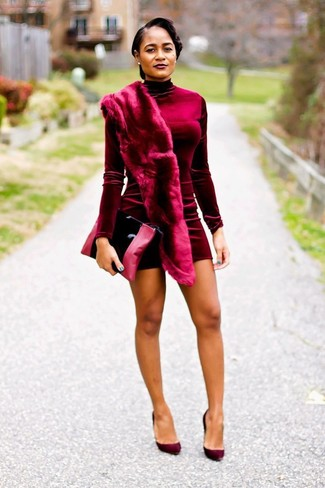 How to wear: burgundy fur scarf, black leather clutch, burgundy suede pumps, burgundy velvet bodycon dress