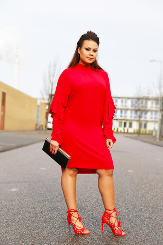 How to wear: black clutch, red suede heeled sandals, red ruffle shift dress