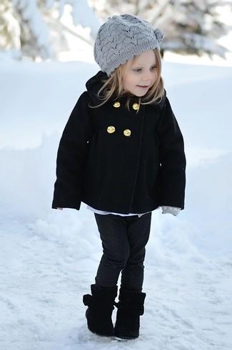 Girls' Black Coat, Black Jeans, Black Boots, Grey Beret