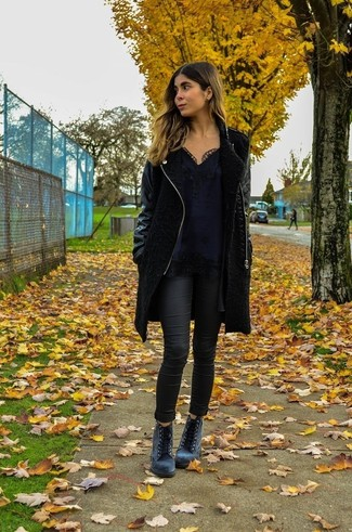 Women's Black Coat, Black Lace Tank, Black Skinny Jeans, Grey Suede Lace-up Ankle Boots