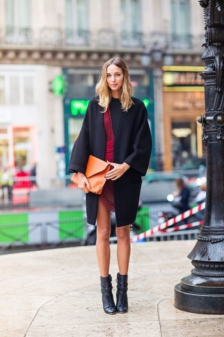 Go for a Boohoo women's Velvet One Shoulder Bodycon Dress and a black coat for both chic and easy-to-wear look. A pair of black leather lace-up ankle boots looks very fitting here. These picks will keep you comfy and stylish in in-between weather.