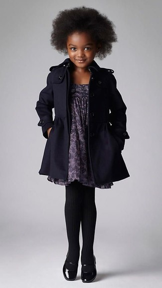 How to wear: black coat, grey print dress, black ballet flats, black tights