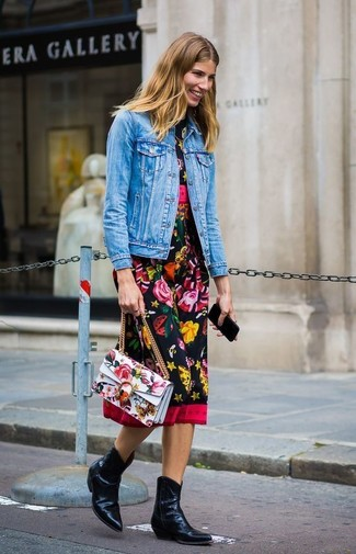 How to wear: white floral leather satchel bag, black leather cowboy boots, black floral midi dress, blue denim jacket