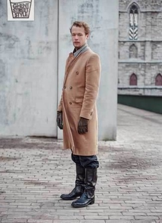 How to Wear Dark Brown Leather Gloves For Men: A camel overcoat and dark brown leather gloves paired together are the ideal getup for gents who appreciate casually cool styles. A pair of black leather cowboy boots instantly kicks up the wow factor of your look.